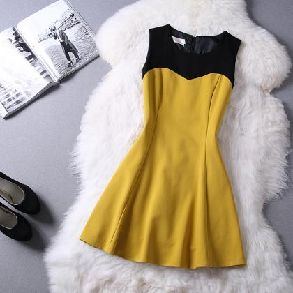 Fashion round neck sleeveless princ..