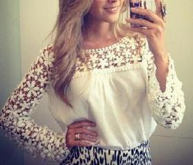Lace Long-Sleeved T-..