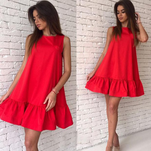 Red Round-Neck Sleeveless Shift Short Summer Dress with Flounced Hem