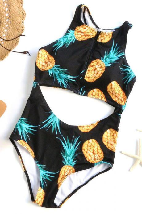 Pineapple Print Cutout One-Piece Swimwear