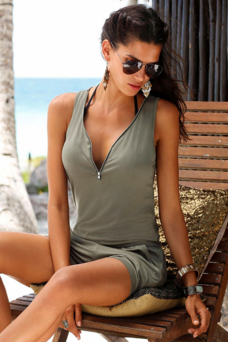 Army Green Plunge V Sleeveless Romper