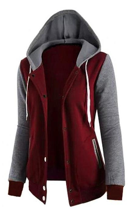 Long-Sleeved Hooded Pocket Jacket