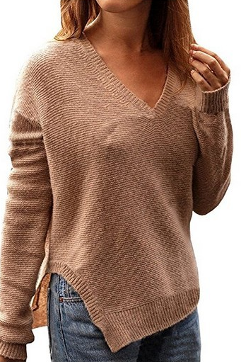Knitted Plunge V Long Cuffed Sleeves Sweater Featuring Slit