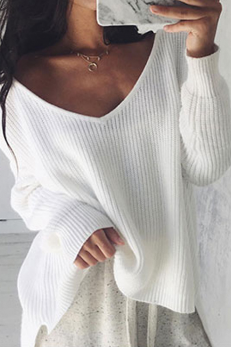 Women'S Irregular Knit Long-Sleeved Sweater