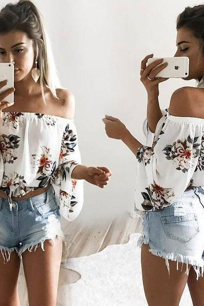White Floral Print Off-The-Shoulder Long Sleeves Blouse