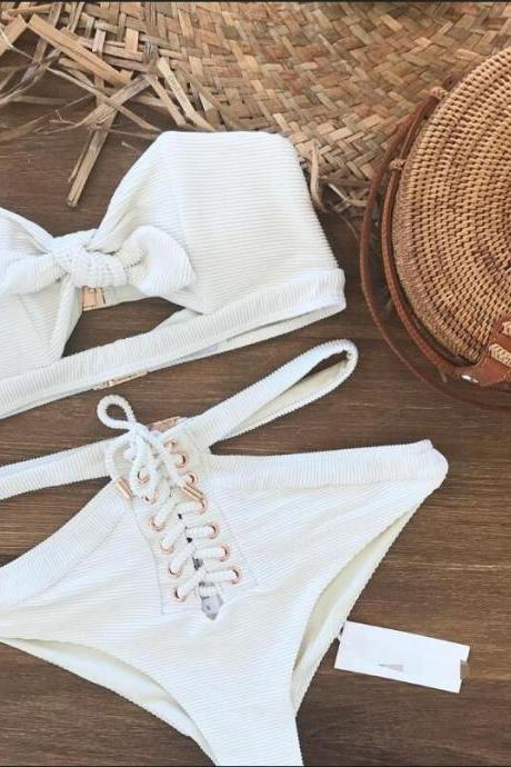 Solid Color Fashion Sexy White Bikini Swimsuit