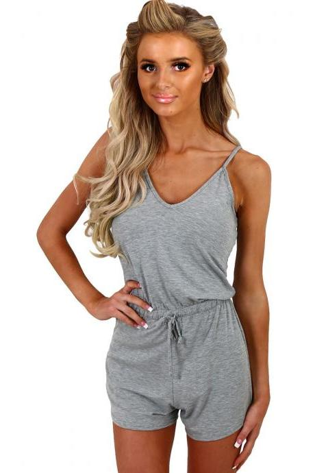 Casual Low-Cut Sling Jumpsuit
