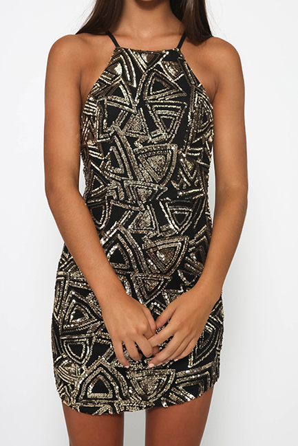 Fashion Sleeveless Sequins Zipper Dress