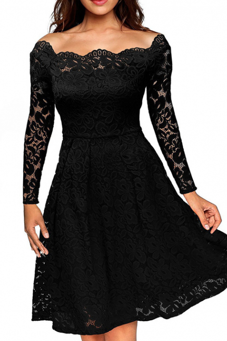 Women's Sexy Lace Off Shoulder Dress