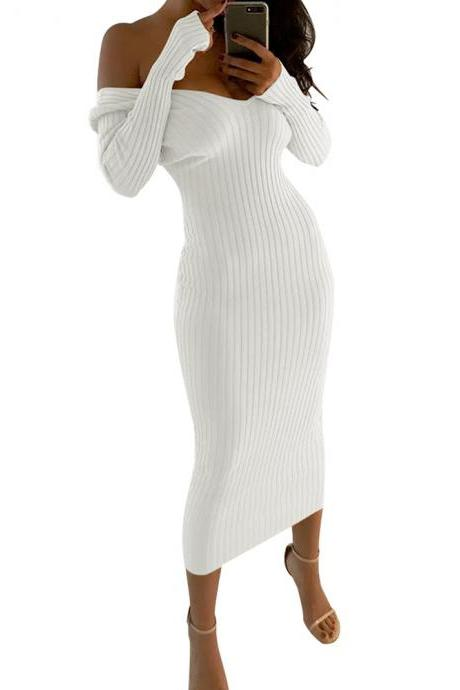 Women's Sexy Off-Shoulder V-neck Long Sleeve Dress