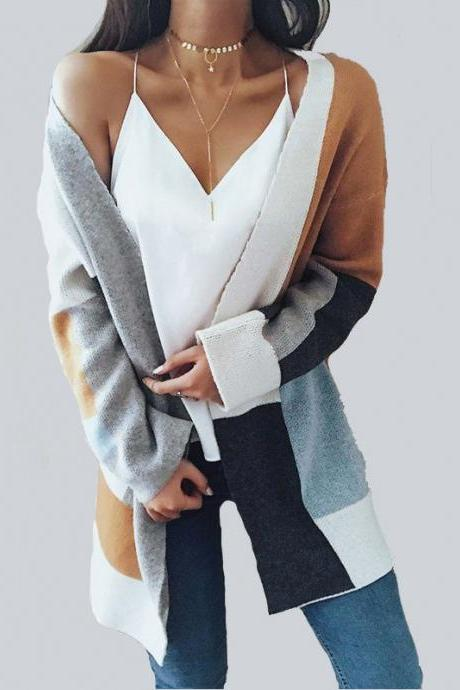 Women Knitted Long-Sleeved Sweater Coat
