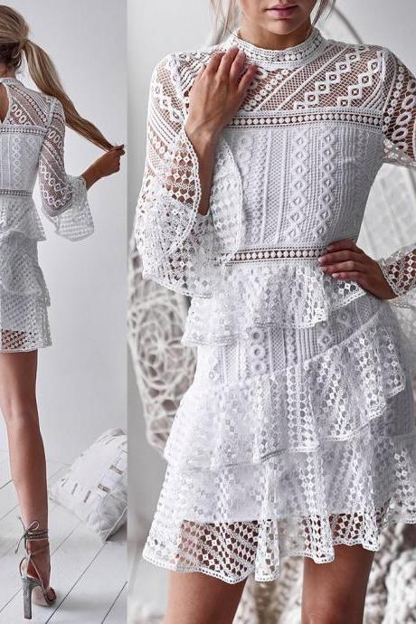 White Lace High Neck Long Sleeves Ruffles Dress