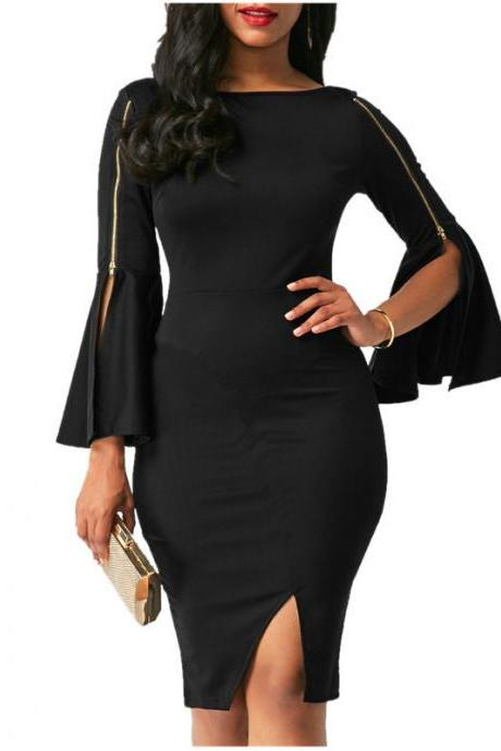 Black Flare Long Sleeves Bodycon Hip Dress - Little Black Dress