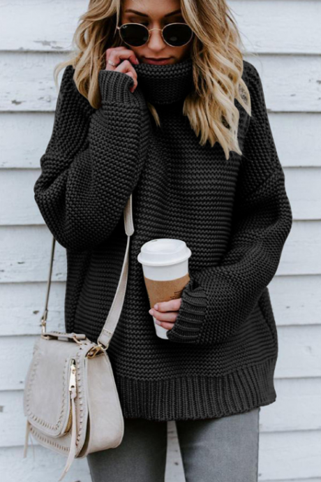 Loose High-Necked Long-Sleeved Sweater