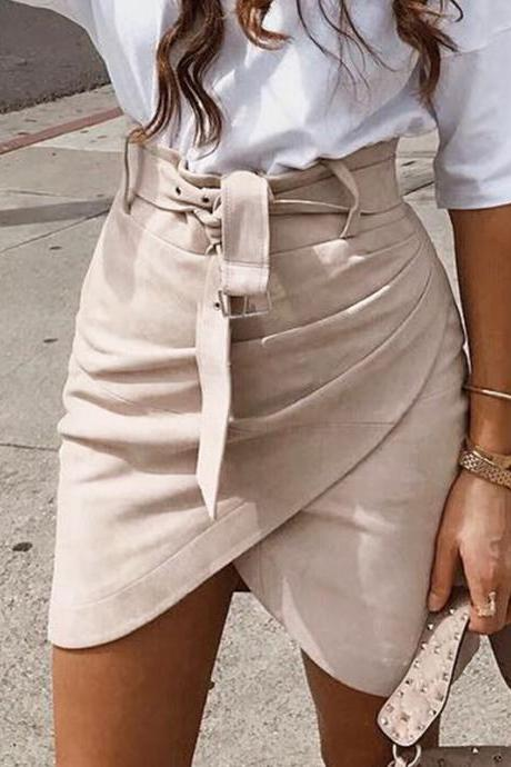 Solid Color Irregular Skirt