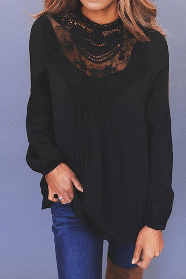 Lace Round Neck Long Sleeve Top