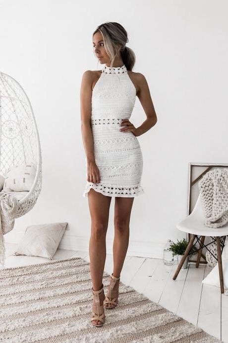 Lace Stitching Zipper Dress
