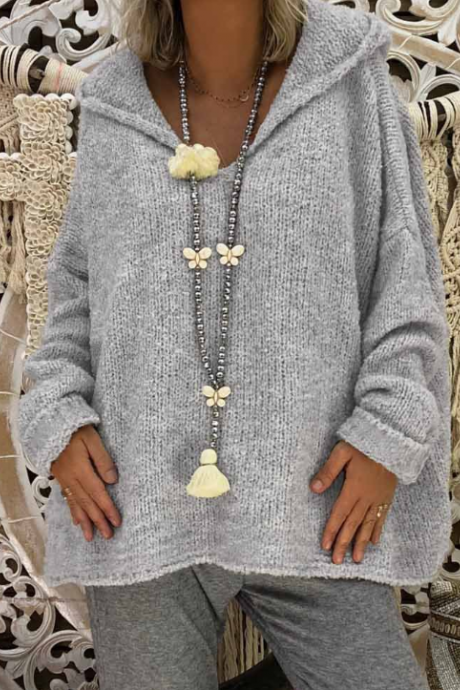 Sexy Hooded Loose Design Long Sleeve Sweater Top