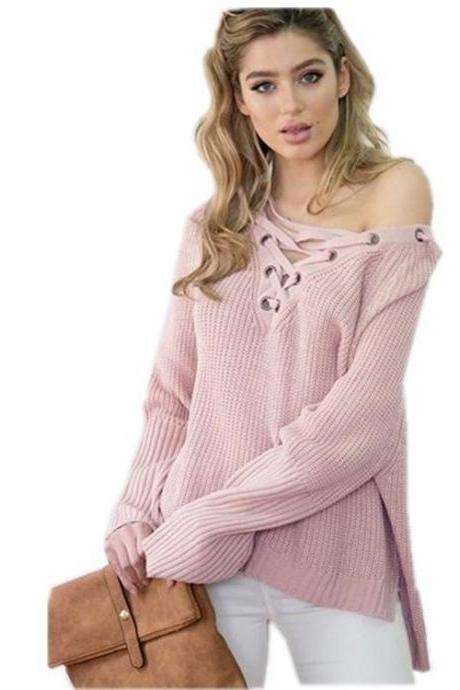 LOOSE V-NECK KNITTING SWEATER