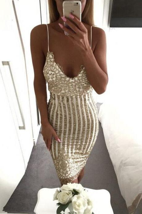 Fashion Sexy V-Neck Sequins Pack Hip Dress DS22002EW