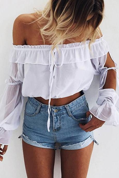 White Ruffled Off-The-Shoulder Long Sleeved Cropped Top Featuring Slit