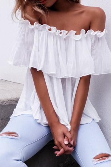 White Chiffon Ruffled Off-The-Shoulder Blouse