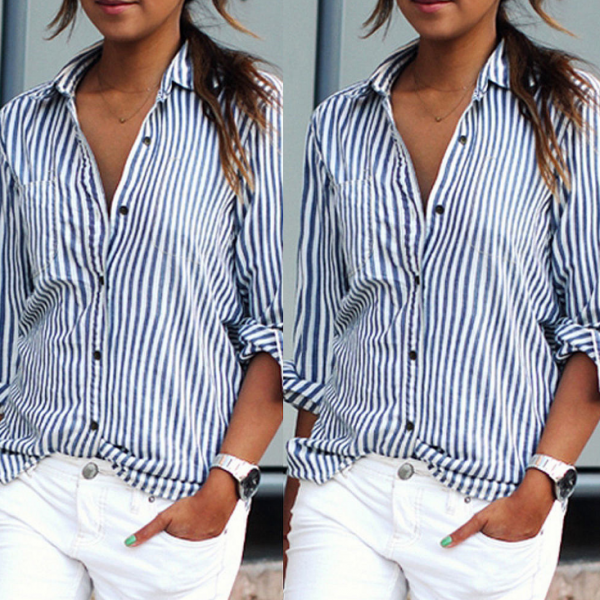 Blue and White Striped Button Down Long Sleeved Shirt