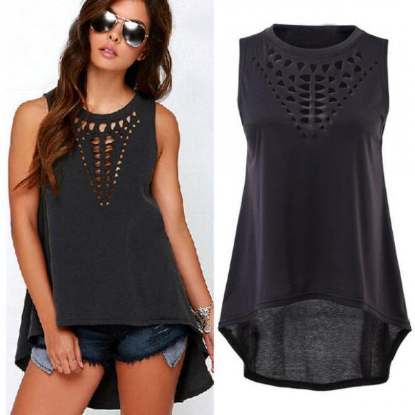 New Sexy Women Lady Girl Plus Size Hollow Sleeveless Swallowtail Shirt Casual Vest Blouse Tank Tops