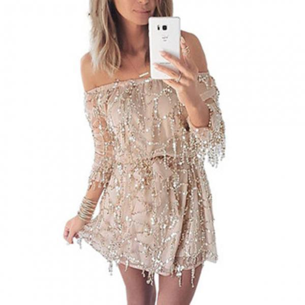 Sexy off shoulder sequin tassel summer Long sleeve dress beach party short dress Women backless vintage dress
