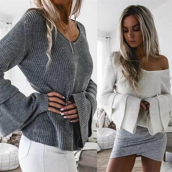 Knitted Plunge V Ruffled Tiered Long Sleeves Sweater