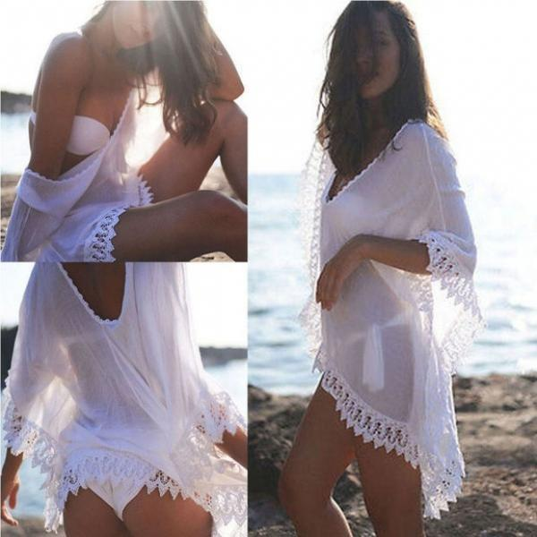 Fashion Womens Summer Style Dress Beach Wear Chiffon Lace Crochet Bikini Swimming Beach Cover Up Swimwear Shirt (one Size)