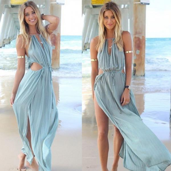 Women's Fashion Summer Spaghetti Strap Dress Sexy Chiffon Maxi Dress