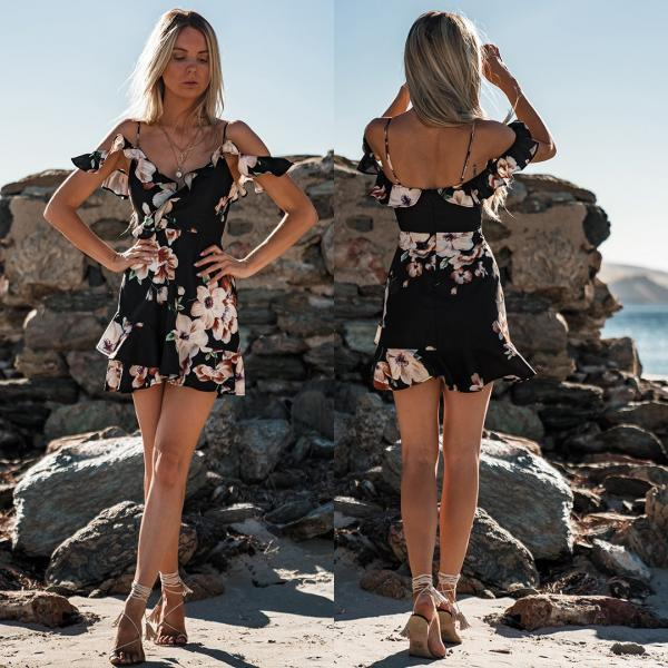 Sexy V-Neck Backless Printing Dress