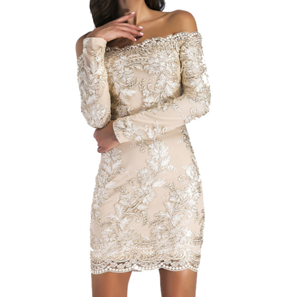 WRAPPED CHEST LONG SLEEVE MINI EMBROIDERED DRESS