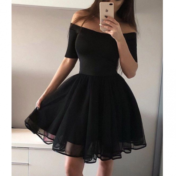 Women'S Sexy Word Shoulder Princess Dress