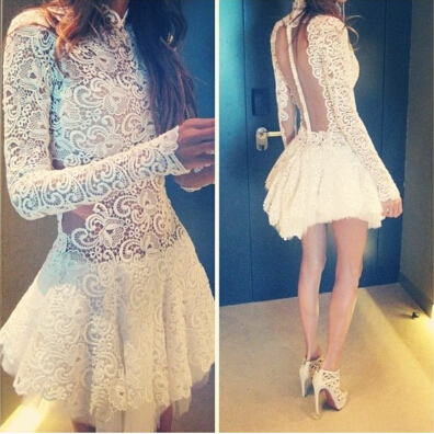 Lace Long-Sleeved Dress