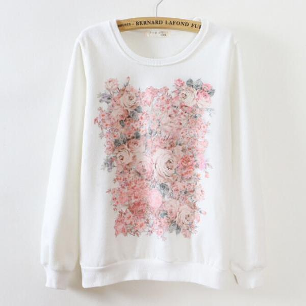White printed round neck long-sleeved sweater DFA51607RE