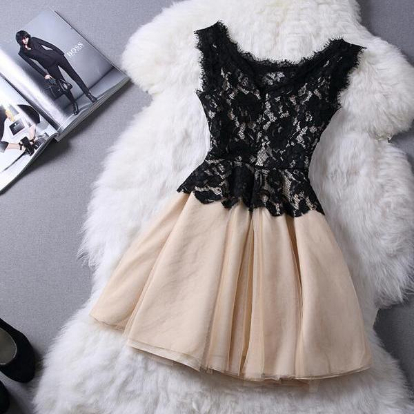 Slim sleeveless lace princess dress DSF51620HR
