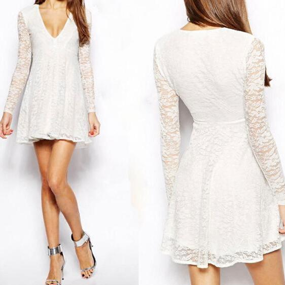 Sexy V-neck long-sleeved lace mini dress DFE52112JP