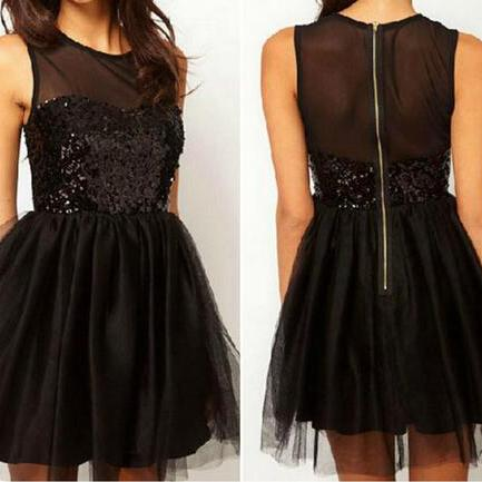 Beautiful Black Sleeveless Chiffon Short Dress DFS52608GH