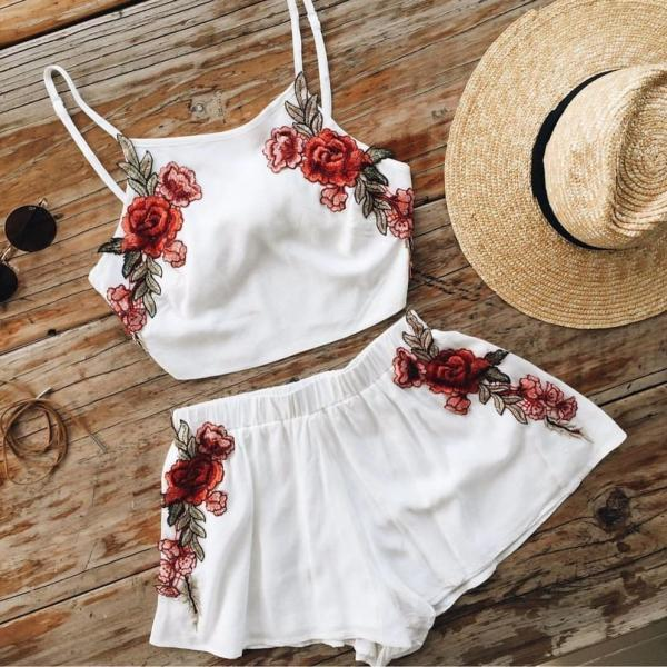 Fashion White Embroidery Two-Piece FD11306